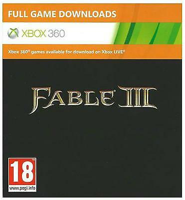 Downloadable Microsoft Fable III 3 Xbox 360 & Xbox One full game code DLC