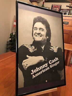 "Big 11X17 Framed ""johnny Cash American Singer"" Lp Album Promo Ad + Tribute Cd!"
