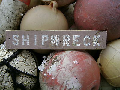 20 Inch Wood Hand Painted Shipwreck Sign Nautical Maritime Seafood