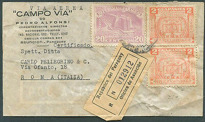 PARAGUAY TO ITALY Registered Air Mail Cover 53' VF