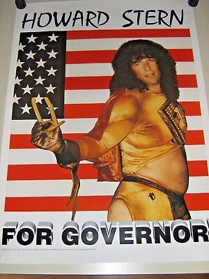 Howard Stern for Governor / 80's poster - Exc. New cond.  23 x 32""