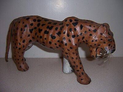 "Large 14"" Leather Leopard Cat Jungle Animal Figurine"