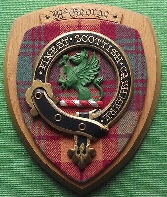 Vintage Scottish Clan McGeorge Tartan Oak Plaque Crest Shield