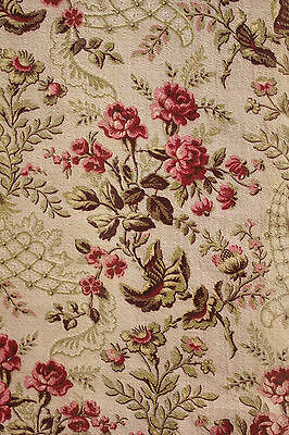 Antique French fabric material upholstery weight pink Rococo design cretonne