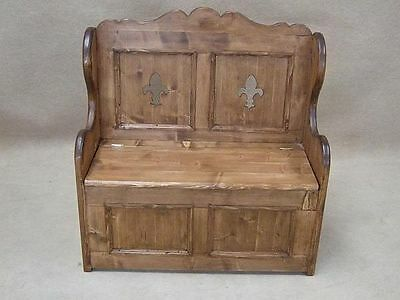 Handmade Pine Settle Monks Bench Pew With Fleur De Lys Design 3Ft 6""