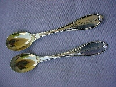 2 William Gale and Son Sterling Silver Chocolate Spoons Mayflower 1862-1866