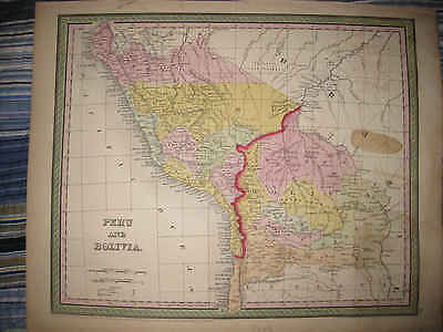 Superb Antique 1850 Peru Bolivia South America Cowpwethwait Mitchell Hanclr Map