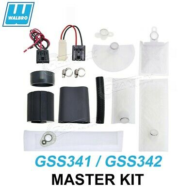 Walbro 255LPH Fuel Pump Install Kit + Strainer Plug Connector Pigtail GSS341 342