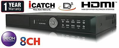 8 Channel Real time 480FPS H.264 CCTV Security Network DVR D1 Audio HDMI Mobile
