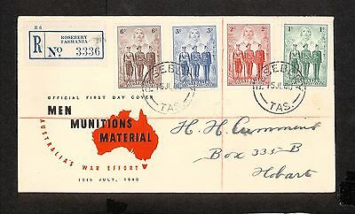 FDC 1940   AIF SET OF 4 FDC ADDRESSED Rosebery REGISTERED (3610.88)