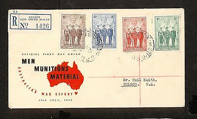 FDC 1940   AIF SET OF 4 FDC ADDRESSED GPO Sydney REGISTERED (3666.42)