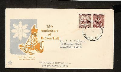 FDC 1958   4d BROKEN HILL First Day Cover with One Hundred Year Pair (3908)