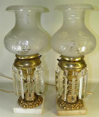 Antique Pair Astral Solar Lamps Ornate Brass Hand Cut Crystal Prisms Marble Base