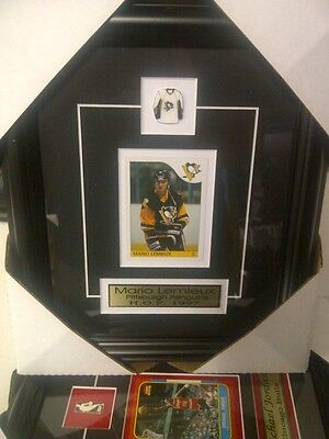 Mario Lemieux Pittsburgh NHL Hockey Museum framed Rookie card Free Shipping