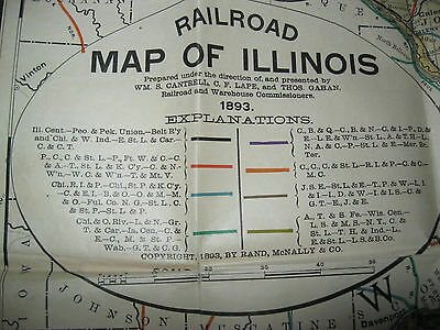1893 RAILROAD COMMISSIONERS RAND McNALLY POCKET MAP OF ILLINOIS