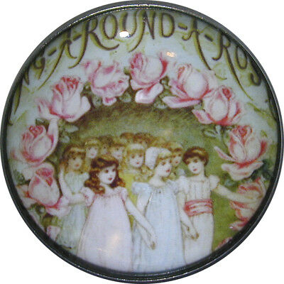 1 inch Crystal Dome Nursery Rhyme Button - Ring around the Roses - NR12