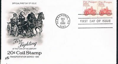 1981 Fire Pumper Plate Number Coil Sc 1908 PNC First Day Cover Rare Pair #5