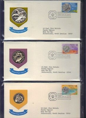 1973 British Virgin ISLANDS Proof Set with First Day Cover Envelopes
