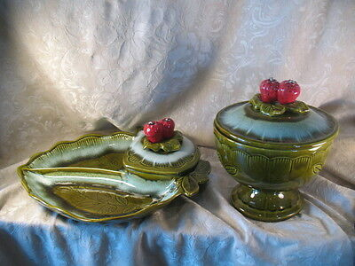 Vintage California Pottery Strawberry Covered Candy Dish & Divided Serving Tray