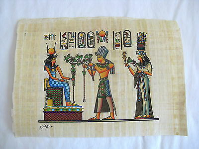 "Egyptian Papyrus Paper Painting King Tut Offering Goddess Isis 9""X13"""