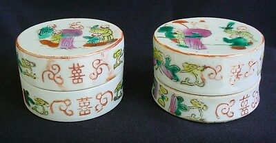 2 Chinese Antique Hand Painted Colorful Porcelain Boxes