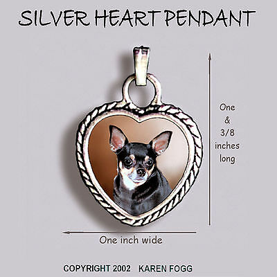 CHIHUAHUA DOG Smooth Tri Black and Tan - Ornate HEART PENDANT Tibetan Silver