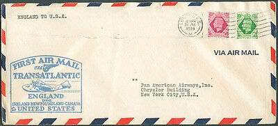 1st Flight PAN AMERICAN LONDON TO NEW YORK Cover VF