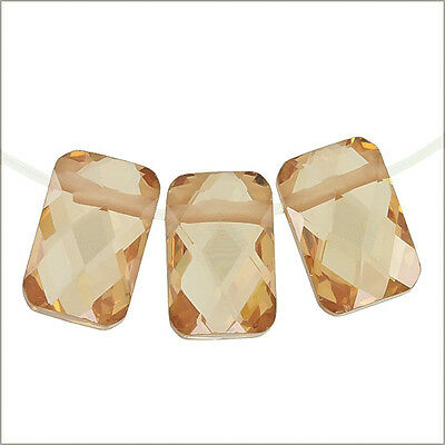 6 Cubic Zirconia Rectangle Cushion Beads 6x9mm Champagne #64068