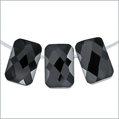 6 Cubic Zirconia Rectangle Cushion Beads 6x9mm Black #64133