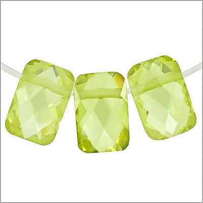 6 Cubic Zirconia Rectangle Side Drilled 6x9mm Peridot Green #96012
