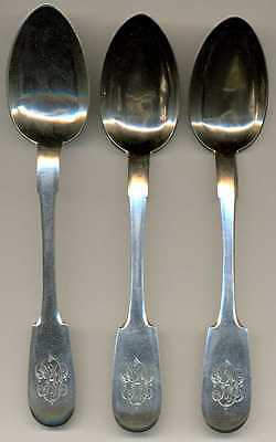 Russian Imperial Silver 84 Set of 3 Dessert Spoons St. Petersburg 1890s Maker MK