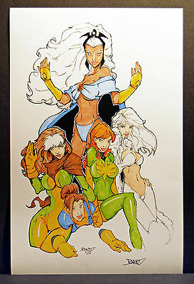The Women of the X-Men Fine Art Print  Storm, Rogue  Hand-Colored Original!