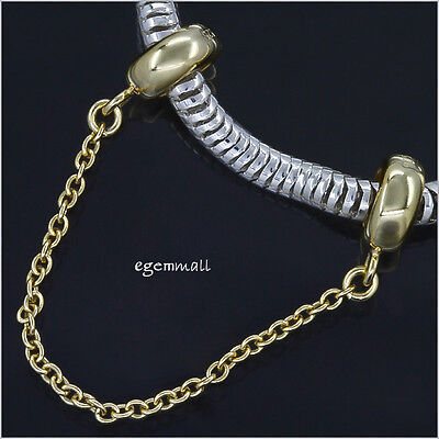 14kt Gold Over Silver Rubber European Charm Bracelet Stopper Safety Chain #51806