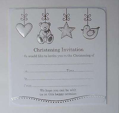 10 Silver Foiled Christening Invitations Boy / Girl