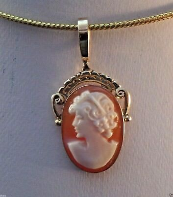 14k Solid Gold Genuine Carved Cameo Pendant