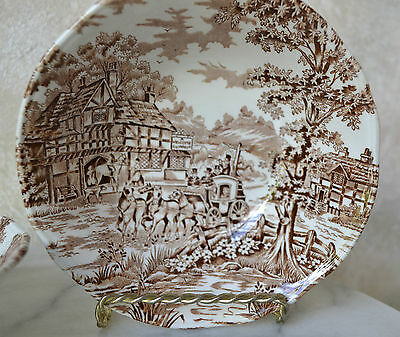"""ALFRED MEAKIN  / MYOTT = COACHING DAYS = SET of 4 CEREAL BOWLS 6,25"""" diam, Brown"""