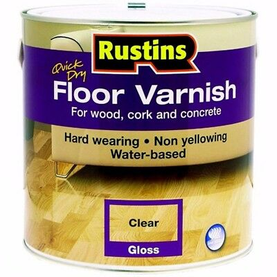 Rustins Acrylic Quick Drying Floor Coating Varnish Clear Gloss 1 Litre 1L