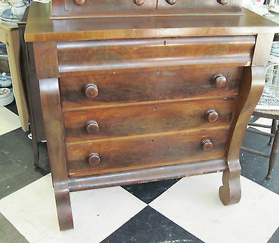 ANTIQUE EMPIRE 6 DRAWER DRESSER OLD DOVETAILS