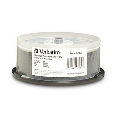 Verbatim Blue Ray Disc BD-R DL 6X 50GB Wide Thermal 25Pk  Pn 97284