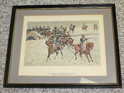 Framed Print 10th Prince of Wales's Royal Hussars Retreat at Corunna 1808-Simkin