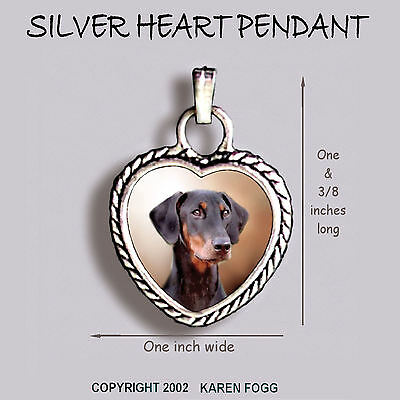 DOBERMAN PINSCHER Black Natural Ear Dobie - Ornate HEART PENDANT Tibet Silver