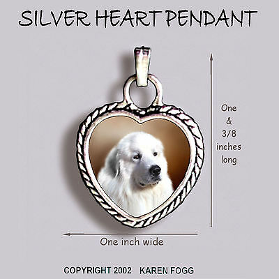 GREAT PYRENEES DOG - Ornate HEART PENDANT Tibetan Silver