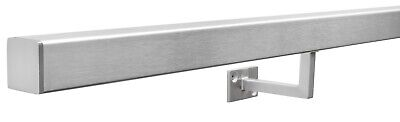 Brushed Stainless Steel Metal Banister Stair Handrail: Pre-Assembled SQUARE Rail