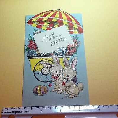 #C316- Vintage Easter Greeting Card Glittered Flower Card & White Bunnies