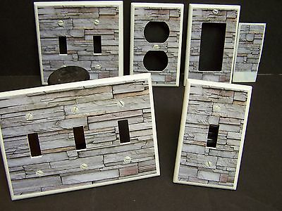 Faux Rustic Stacked Stone Wall Design Shades Of Gray  Light Switch Cover Plate