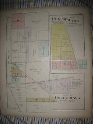 Antique 1902 Columbiana City & County Ohio Handcolored Map Very Detailed Rare Nr