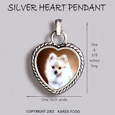 POMERANIAN DOG White - Ornate HEART PENDANT Tibetan Silver