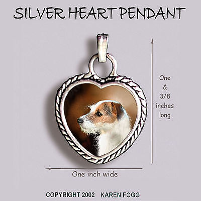 JACK RUSSELL TERRIER DOG Wire Fawn - Ornate HEART PENDANT Tibetan Silver