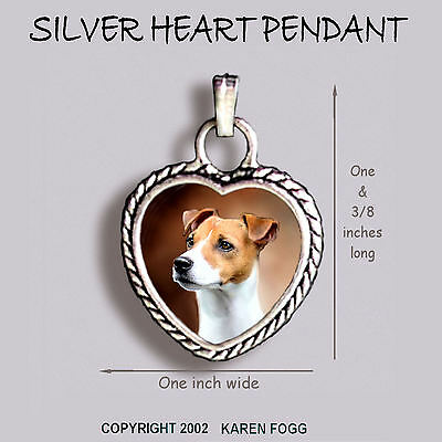 JACK RUSSELL TERRIER DOG Smooth Fawn - Ornate HEART PENDANT Tibetan Silver