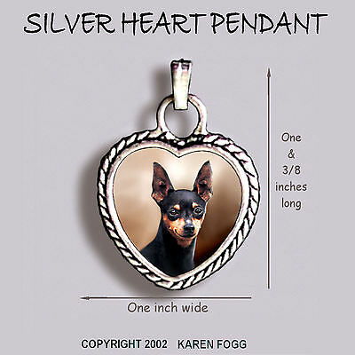 MINIATURE PINSCHER DOG Black  - Ornate HEART PENDANT Tibetan Silver